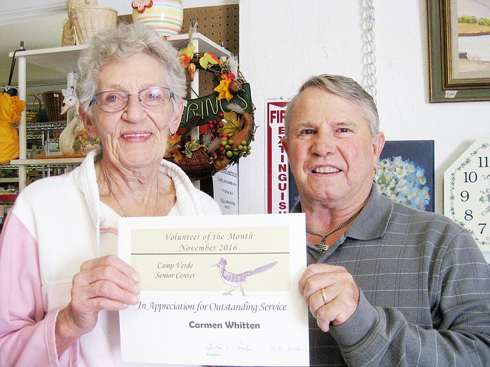 Dec. 2016 Camp Verde Senior Center Volunteer of the Month