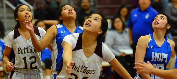 The Winslow High School basketball teams won three of four games against Tuba City and Hopi recently. The Bulldog boys lost to Tuba City and beat Hopi while the Lady Bulldogs beat both of their opponents.
