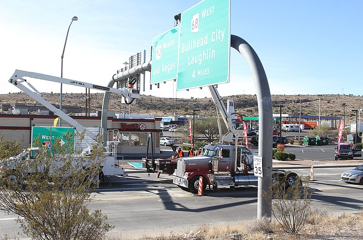 Construction at the intersection of Beale Street and I-40 Tuesday morning had traffic heading into Kingman backed up into Coyote Pass.
