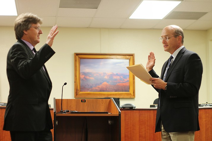 Craig Sanderson, Tusayan's first directly-elected mayor, was sworn in by Coconino County judge Robert Krombeen Dec. 14. Councilors Al Montoya and Becky Wirth (not pictured) were re-elected.