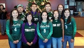 Tuba City High School took honors at the recent Navajo Times All Starts fall sports awards in Shiprock, including: front row: Autum Byjoe, Junior (volleyball), Ranetta Jackson, junior (cross country), Sophia Honahni, senior (volleybal), Larissa Yazzie, freshman (cross country), Kourtney Posey, junior (volleyball). Back row: Tyrek Eltsosie, senior (football), Vaughn Jackson, senior (cross country), Marquez Barlow, junior (football) and Jayda Chee, freshman (volleyball). Photo/Rosanda Suetopka