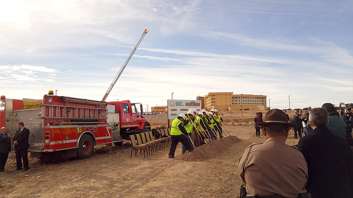 The Navajo Nation breaks ground on the Twin Arrows Police and Fire substation Dec. 15. The station will not only provide public safety to the Twin Arrows Resort but more remote areas in northern Arizona. Kevin Moriarty/NHO