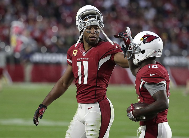 Arizona Cardinals wide receiver Larry Fitzgerald (11) during the first half of an NFL football game against the New Orleans Saints, Dec. 18, in Glendale.