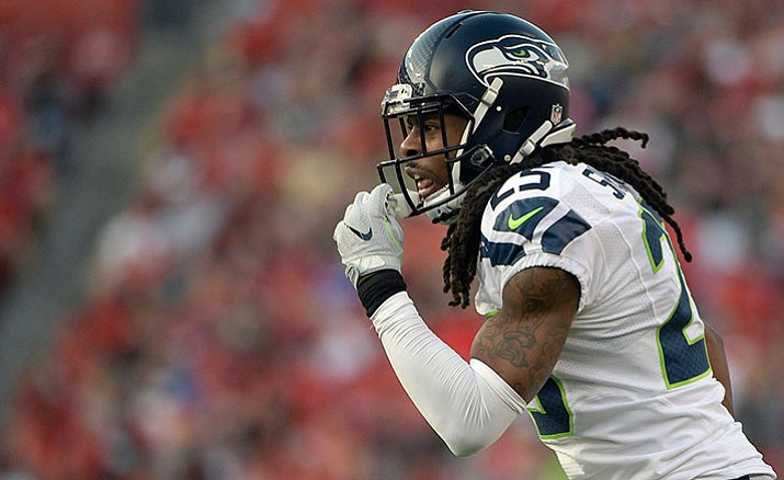 Seahawks cornerback Richard Sherman reacts during a Nov. 27 game against the Tampa Bay Buccaneers. The Seahawks will host the Cardinals today, Dec. 24.