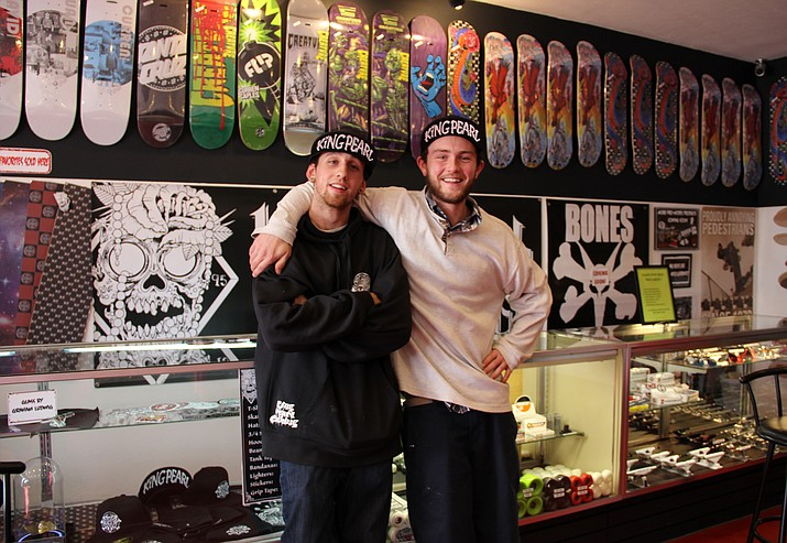 Matt Joannes, left, and Nicholas Dennis have recently opened up a skate shop in Prescott called The Skate Stop.