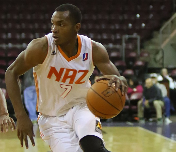 Elijah Millsap drives to the bucket against the Oklahoma City Blue on Dec. 23 in Prescott Valley. On Christmas night, Millsap recorded a double-double with 24 points and 12 rebounds in a 96-94 double-overtime loss to Sioux Falls on Sunday, Dec. 25. (Matt Hinshaw/NAZ Suns)