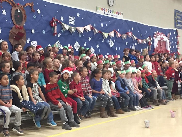 Students at Territorial Early Childhood Center in Chino Valley participate in the school's winter program.