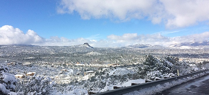 "The view of Prescott on Christmas Day from Senator Highway reveals a ""White Christmas."""