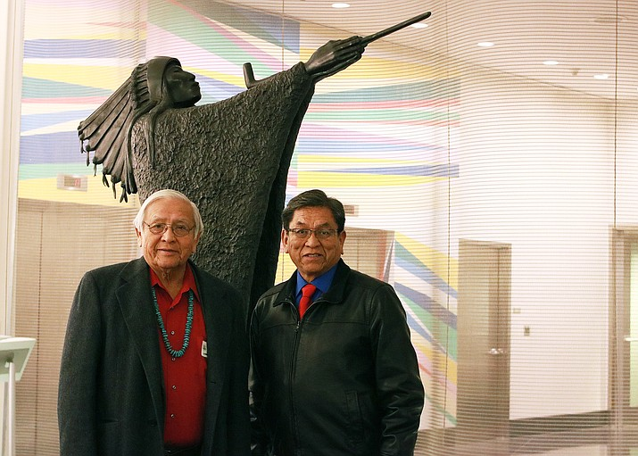 Navajo Ambassodor Pterson Zah and Navajo Nation President Russell Begaye ask for future representation for the Navajo Nation during a United Nations consultation in New York Dec. 14. Submitted photo