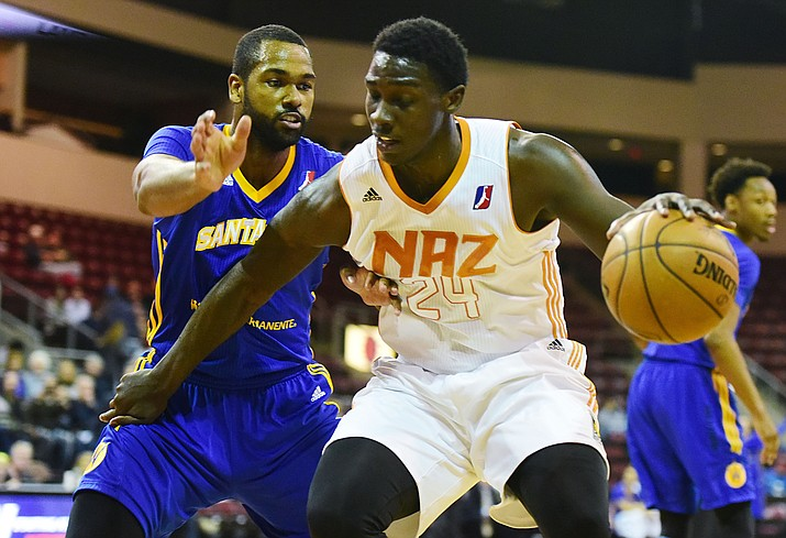 Northern Arizona's Johnny O'Bryant drives the baseline Dec. 14. The Suns lost 115-108 to the Santa Cruz Warriors on the road Thursday, Dec. 29. (Les Stukenberg/The Daily Courier, File)