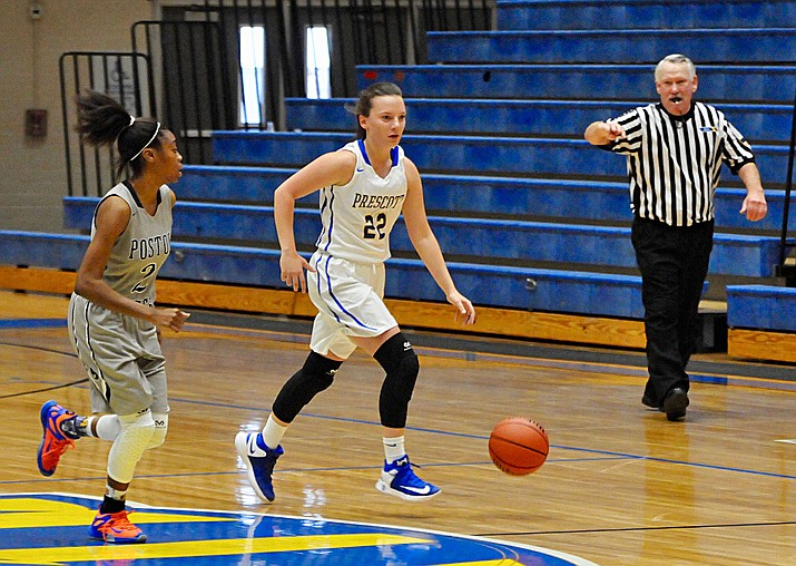 Prescott's Abby Chartier dribbles down the floor to set up the offense Thursday, Dec. 29, at the Prescott Lady Badgers Winter Classic. (Brian M. Bergner Jr./The Daily Courier)