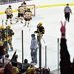 ASU celebrates their second goal of the night as the ASU Sun Devils take on the Brown Bears from Rhode Island in the Desert Hockey Classic at the Prescott Valley Event Center Friday, December 30. (Les Stukenberg/The Daily Courier)