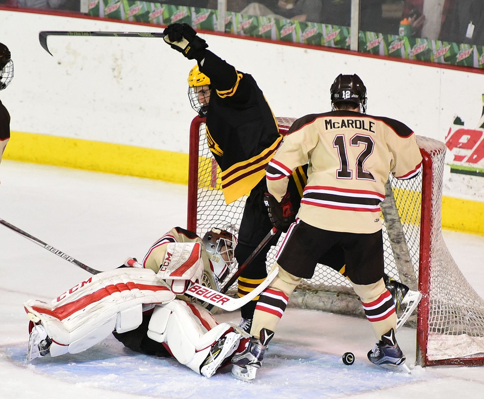 ASU's Wade Murphy scores late in the game as the ASU Sun Devils take on the Brown Bears from Rhode Island in the Desert Hockey Classic at the Prescott Valley Event Center Friday, December 30. (Les Stukenberg/The Daily Courier)