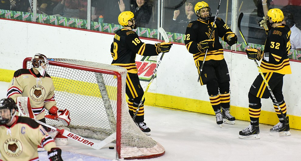 ASU players celebrate a late goal as the ASU Sun Devils take on the Brown Bears from Rhode Island in the Desert Hockey Classic at the Prescott Valley Event Center Friday, December 30. (Les Stukenberg/The Daily Courier)