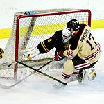 Brown's Zack Pryzbek puts pressure on ASU goalie Robert Levin as the ASU Sun Devils take on the Brown Bears from Rhode Island in the Desert Hockey Classic at the Prescott Valley Event Center Friday, December 30. (Les Stukenberg/The Daily Courier)