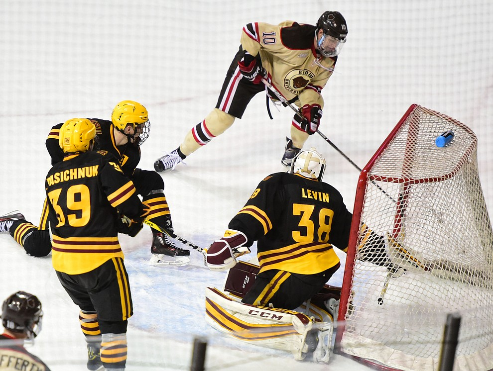 Brown's Max Willman nets the game winner as the ASU Sun Devils take on the Brown Bears from Rhode Island in the Desert Hockey Classic at the Prescott Valley Event Center Friday, December 30. (Les Stukenberg/The Daily Courier)