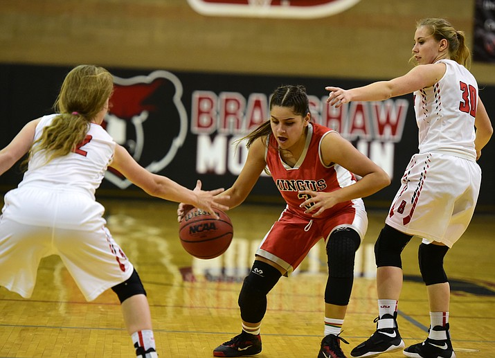 Mingus Union High School senior point guard Destiny Razo (#3) in a recent game at Bradshaw Mountain High School. Razo is second on the Mingus squad in points per game with 11.5. (Photo courtesy Les Stukenburg)