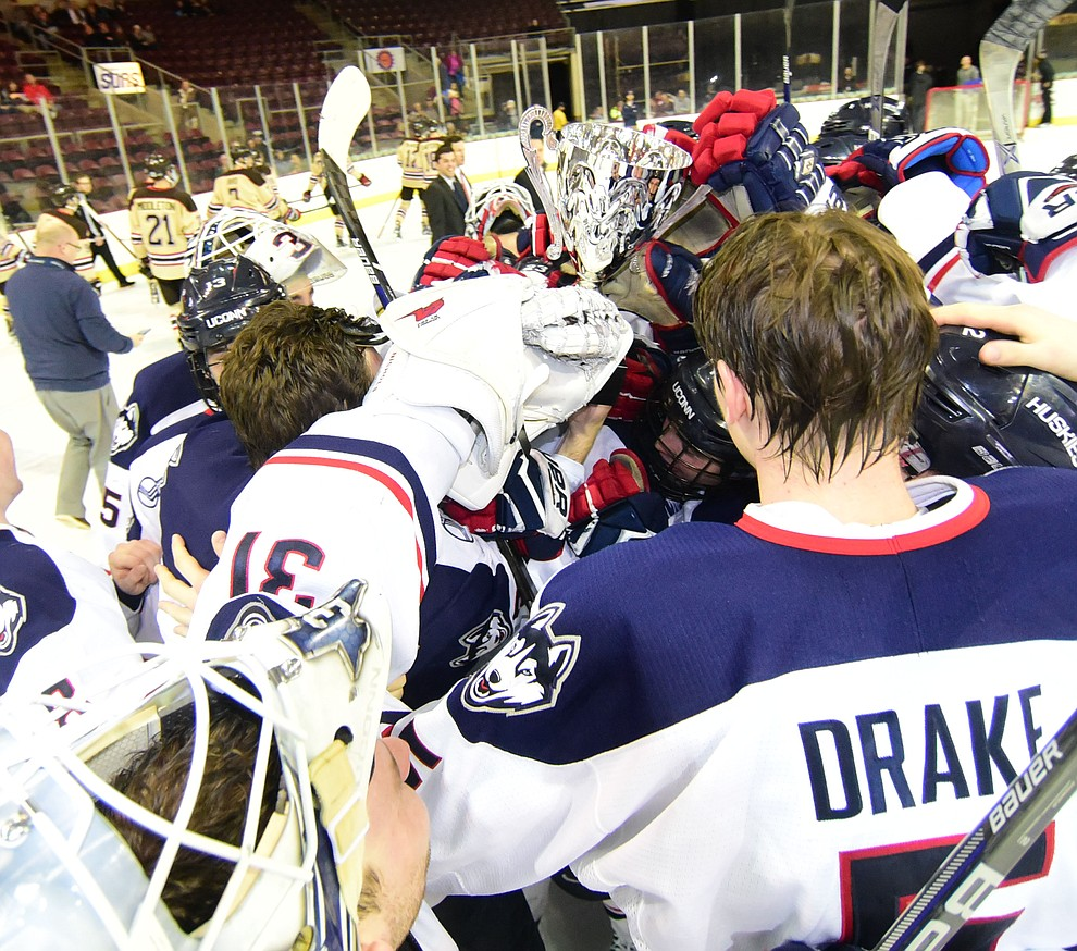The UConn Huskies beat the Bears from Brown University in the championship match of the Desert Hockey Classic at the Prescott Valley Event Center Saturday, December 31. (Les Stukenberg/The Daily Courier)