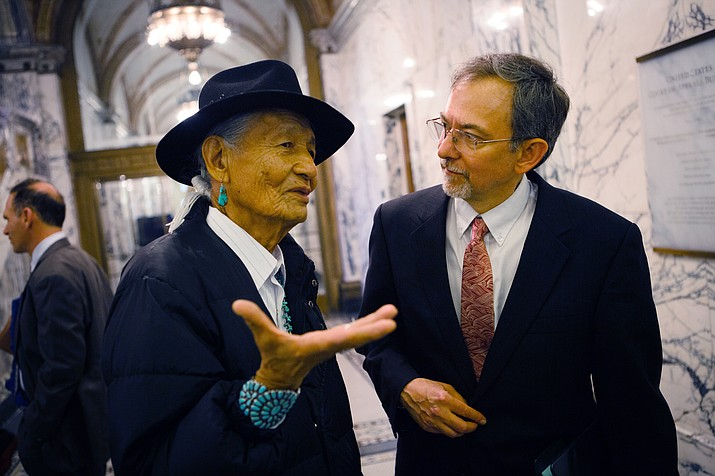 Earthjustice attorney Ted Zukowski speaks with Navajo tribal member Jones Benally after the Havasupai v. Provencio case at The United States Court of Appeals for the Ninth Circuit in San Francisco. Photo/Chris Jordan-Bloch, EarthJustice