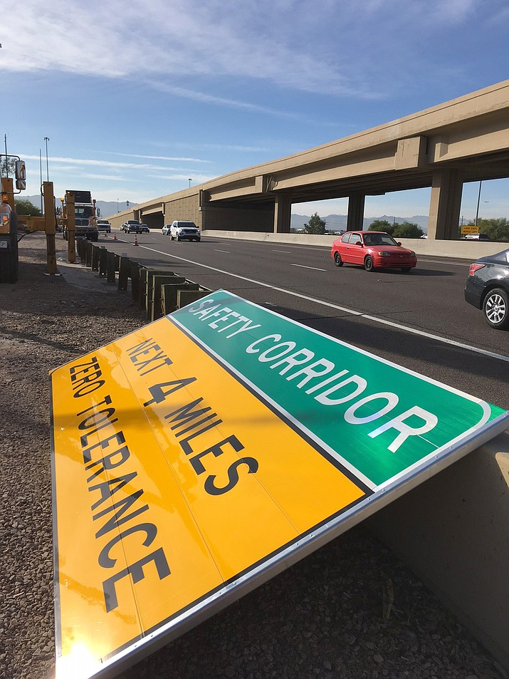 ADOT works to install safety corridor signs in hopes of reducing traffic accidents in high risk areas around the state.