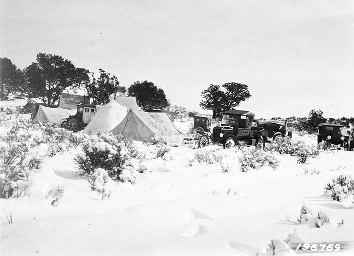 Visitors gather at a hunting camp sometime around the 1930s outside of Williams.