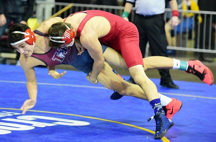 Mingus Union 145-pounder Lucas Svoboda claimed the tournament championship in the Mile High Tourney at the Prescott Events Center. Svoboda, who entered the two-day tourney as the No. 2 seed, was a perfect 4-0 in the two-day tourney. Photo by Les Stukenberg/The Daily Courier