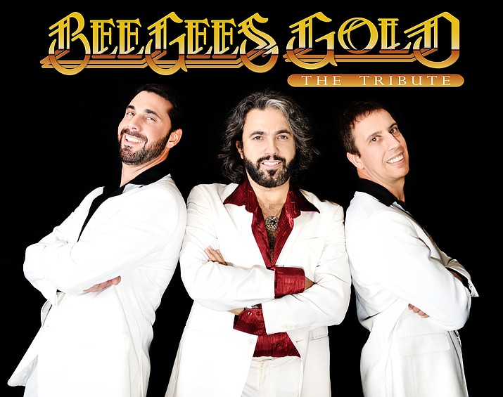 The Bee Gees are back! From left, Jeff Celentano (Maurice), John Acosta (Barry), and Daryl Borges (Robin) play the Elks Theatre tonight, Jan. 6.