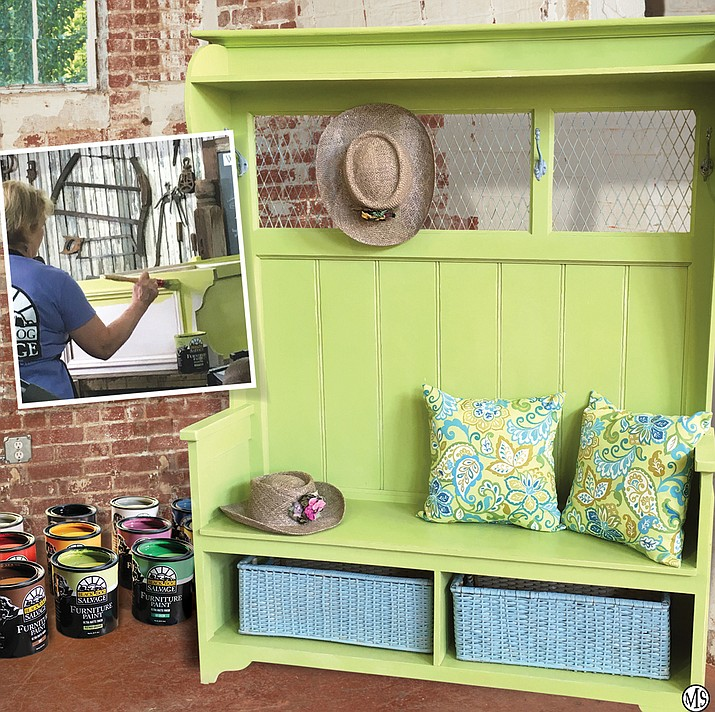 Black Dog Salvage Patinio Greenio Furniture Paint gives new character to this hall tree bench.