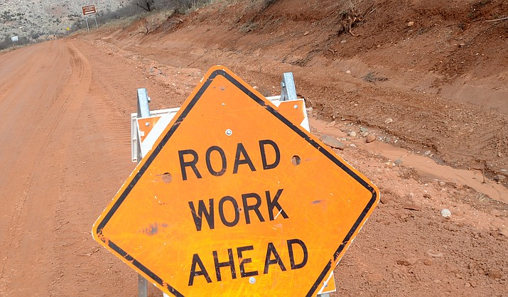 The Sycamore Canyon Road in Clarkdale gets a smooth surface on Wednesday as rain and wash during the past week turned parts of the road to a muddy ride for motorists. VVN/Vyto Starinskas