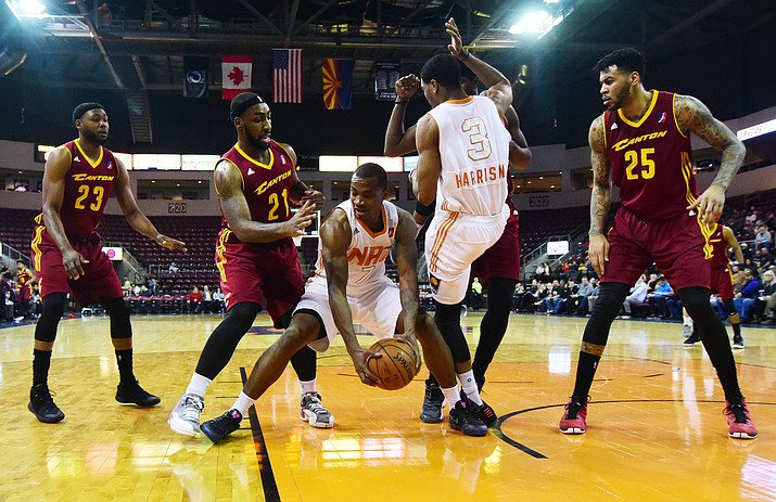 Northern Arizona's Elijah Millsap contols the ball down low as the Suns take on the  Canton Charge Friday, January 6 at the Prescott Valley event Center. (Les Stukenberg/The Daily Courier)