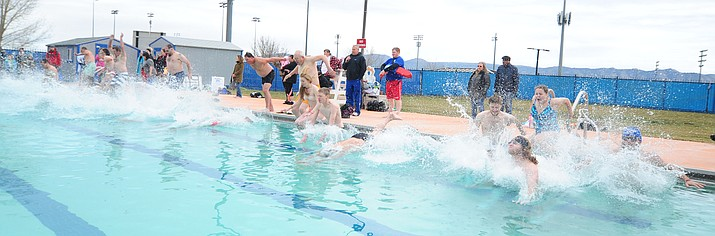 35 participants hit the water during the 11th Annual Polar Bear Plunge at Mountain Valley Splash in Prescott Valley Saturday, January 7. (Les Stukenberg/The Daily Courier)