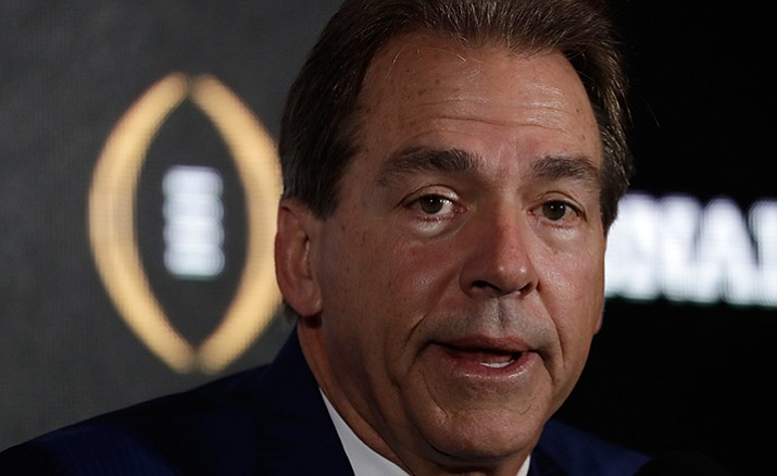 Alabama head coach Nick Saban answers questions during a news conference for the NCAA college football playoff championship game Sunday, Jan. 8, in Tampa, Fla.