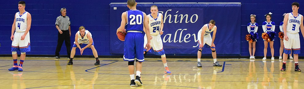 Chino Valley defenders are ready for the last shot of the half as the Cougars take on the Kingman Bulldogs Tuesday, January 10 in Chino Vallley. (Les Stukenberg/The Daily Courier)