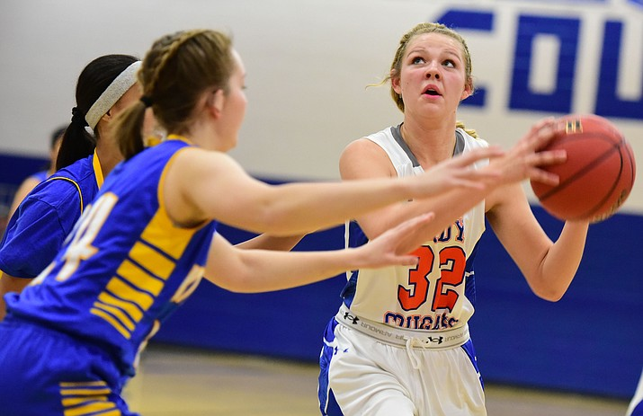 Chino Valley's Felicity Stickrod gets a close shot off as the Lady Cougars take on the Kingman Lady Bulldogs Tuesday, January 10 in Chino Vallley. (Les Stukenberg/The Daily Courier)
