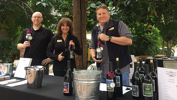 From left, John Henderson, Viticulture & Enology student, Valerie Wood, alumni and Daniel Wood, alumni. All three are part-time employees at the Southwest Wine Center @ Yavapai College. (YC Courtesy Photo)