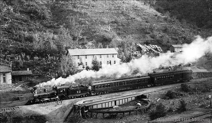 "Santa Fe, Prescott & Phoenix Railway train, the ""Murphy Special,"" at Poland, Arizona, circa 1905. Courtesy of Sharlot Hall Museum, Call Number RR-118P."