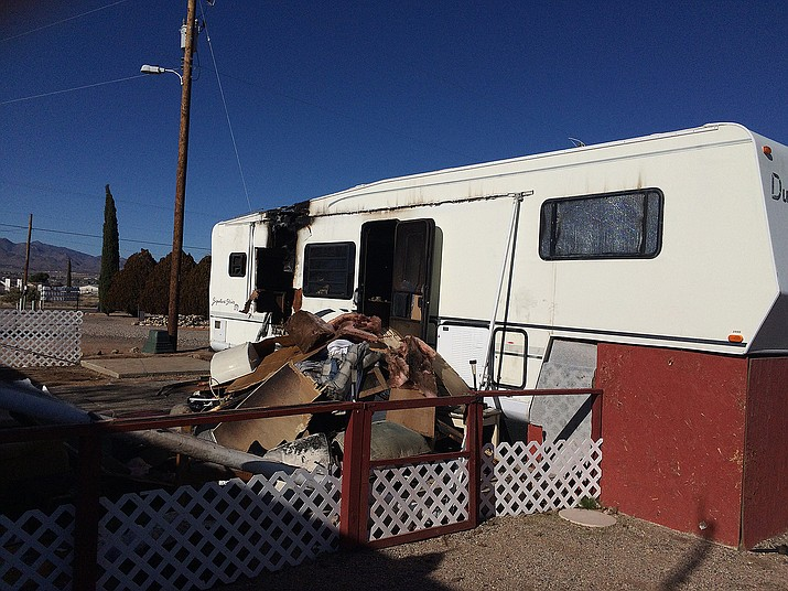 A malfunctioning refrigerator was cited as the cause of an early morning fire that destroyed this fifth-wheel travel trailer Tuesday.