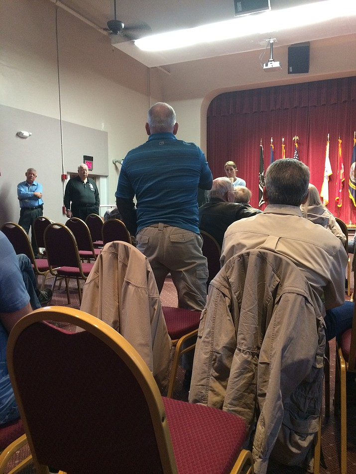 A veteran poses a question to officials at local VA Town Hall meeting on Thursday, Jan. 12.