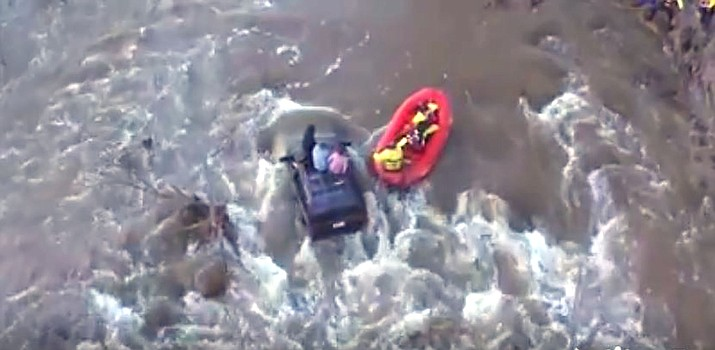 The Sedona Fire Department's DJI 2000 Drone, connected to an iPad, passed an early test this month in Camp Verde when three people began floating down Beaver Creek and the Verde River in an SUV after they attempted a low-water crossing. (Courtesy photo, Sedona Fire Dept.)