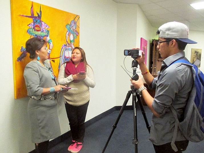 Hopi High's Greta Quotskuyva interviews Arizona State Sen. Jamescita Peshlakai while Kyle Secakuku works the camera. Stan Bindell/NHO
