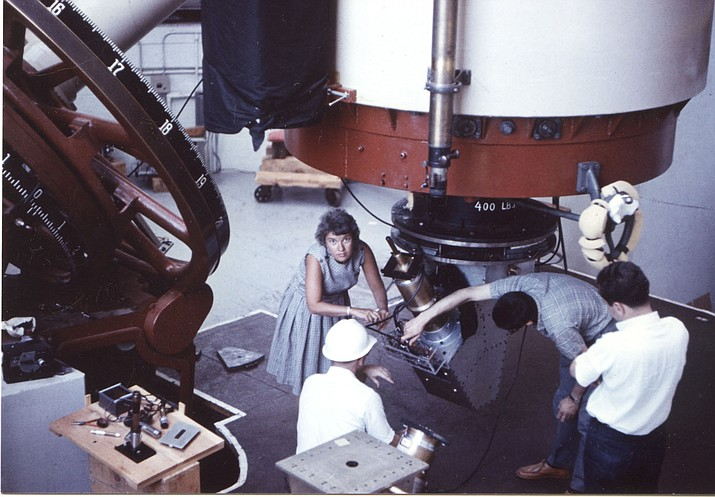 Vera Rubin works at Lowell Observatory in 1965.