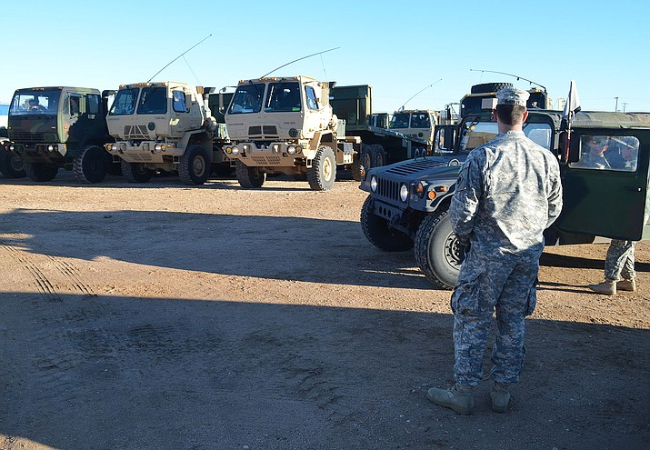 The Oklahoma National Guard spent the night in Kingman Tuesday.