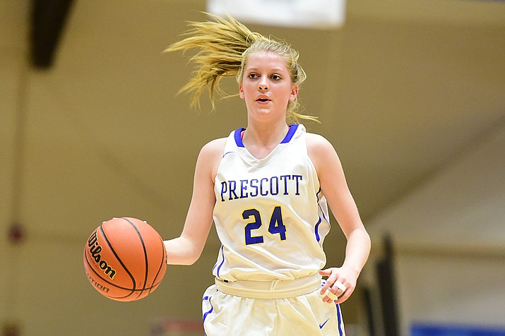 Prescott's Heather Sands brings the ball up court as the Badgers take Mingus on Tuesday, Jan. 17, in Prescott. (Les Stukenberg/The Daily Courier)