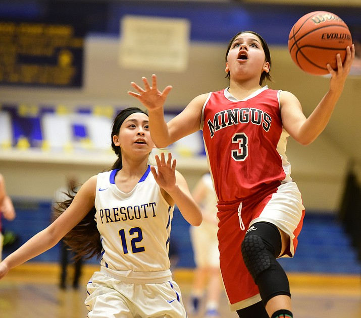 Senior Destiny Razo scored 18 points in Mingus Union's 44-40 win at Prescott High School. (Photo by Les Stukenberg)