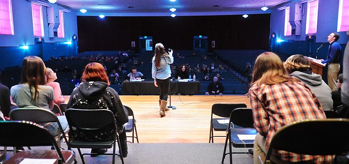 Students compete in a spelling bee at Prescott's Mile High Middle School Friday, January 20. (Les Stukenberg/The Daily Courier)