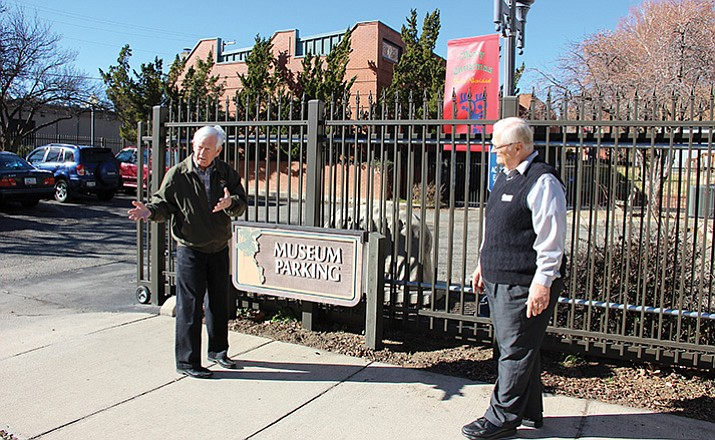 Sharlot Hall Museum Executive Director Fred Veil, left, and Marketing Manager Ken Leja stand outside the museum's southeast parking lot, which will be the site of a new Sharlot Hall Museum education center.