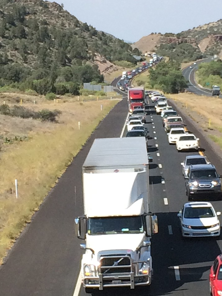Traffic backs up on Interstate 17 near the Highway 169 interchange during a busy spring weekend.