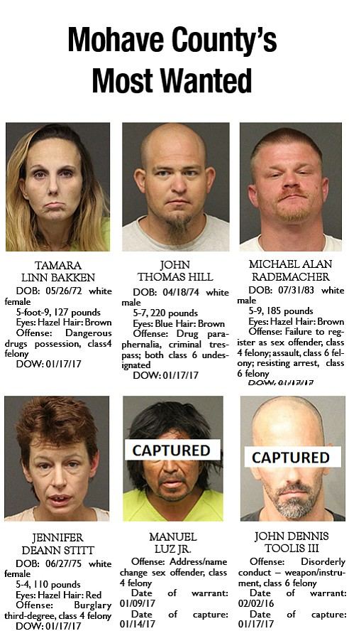 Mohave County's Most Wanted: Jan. 23, 2017