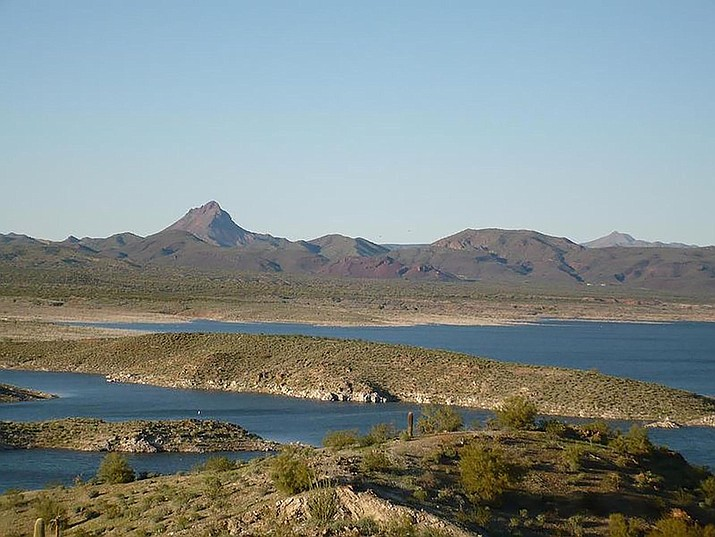 Alamo Lake as it looked in 2008. Artillery Peak in the Arrastra Mountains is in the background. Recent rains have revived the once troubled Mohave County fishing hole.