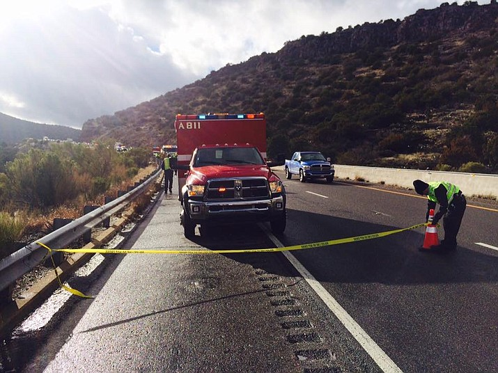 A crime scene is set up on I-17 just south of Camp Verde. One lane is now open going north. VVN/Vyto Starinskas